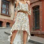 2019 Şık Kombinler Ekru Ön Kısa Arkası Uzun İp Askılı V Yakalı Çiçek Desenli Elbise
