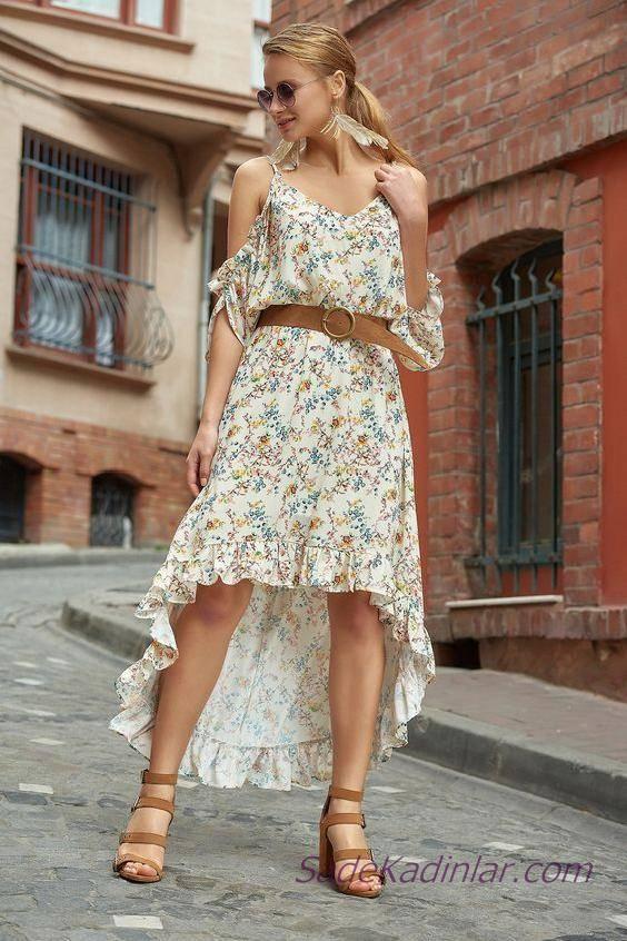 2020 Yazlık Şık Kombinler Ekru Ön Kısa Arkası Uzun İp Askılı V Yakalı Çiçek Desenli Elbise