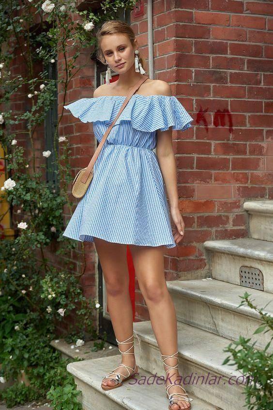 2020 Yazlık Şık Kombinler Mavi Kısa Omzu Açık Fırfırlı Yaka Çizgi Desenli Elbise