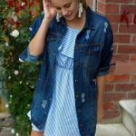 2019 Şık Kombinler Mavi Kısa Çizgi Desenli Elbise Mavi Yırtık Kot Ceket