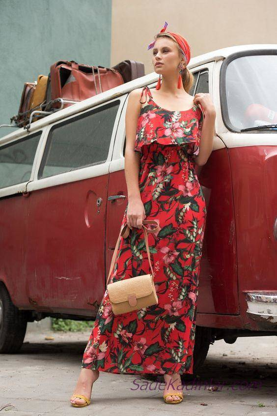 2019 Şık Kombinler Mercan Uzun İp Askılı Pelerinli Yaka Çiçek Desenli Elbise