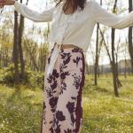 2019 Şık Kombinler Pudra Desenli Pantolon Beyaz Uzun Kollu Kısa Bağlamalı Gömlek