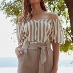 2019 Şık Kombinler Vizon Kısa Kumaş Kemerli Şort Vizon Omzu Açık Düşük Kol Gömlek