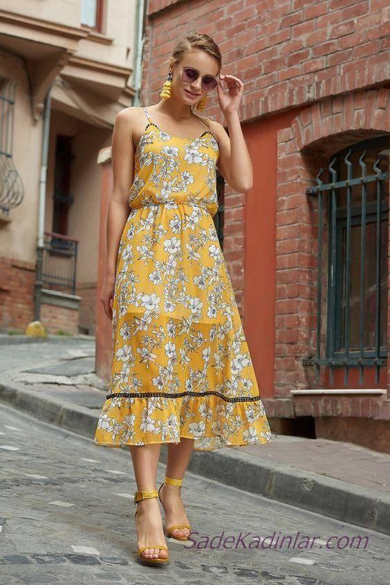 2019 Şık kombinler Sarı Midi İp Askılı Çiçek Desenli Elbise
