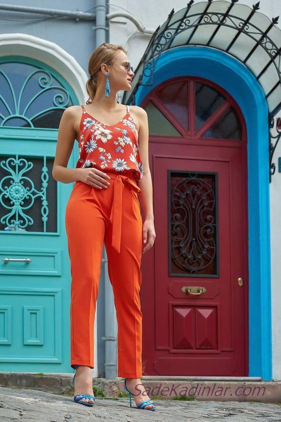 2020 Yazlık Şık kombinler Turuncu Bol kesim Beli Kumaş Bağcıklı Pantolon Turuncu Askılı Desenli Bluz