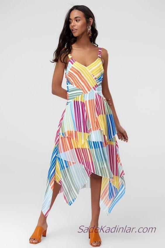 Asimetrik Elbise Modelleri Mavi Askılı V Yakalı Renk Bloklu
