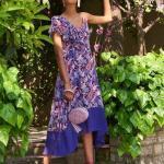 Asimetrik Elbise Modelleri Mor Tek Askılı Tek Tarak Kısa Kollu Fırfırlı Desenli
