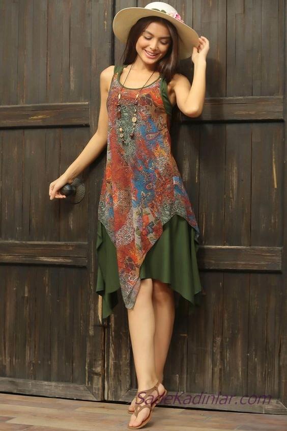 Asimetrik Elbise Modelleri Yeşil Kolsuz Geniş Yakalı Desenli