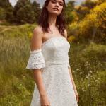 En Güzel 2020 Beyaz Elbise Modelleri Kısa Omzu Açık Düşük Kol Güpür Dantelli