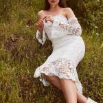 En Güzel 2020 Beyaz Elbise Modelleri Kısa Omzu Açık Düşük Uzun Kollu Güpür Dantel Detaylı