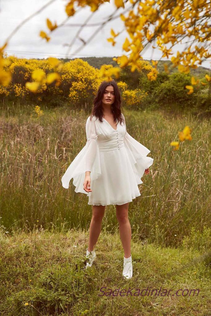 Beyaz Elbise Modelleri Kısa Uzun İspanyol Kollu V Yakalı Düğme Detaylı
