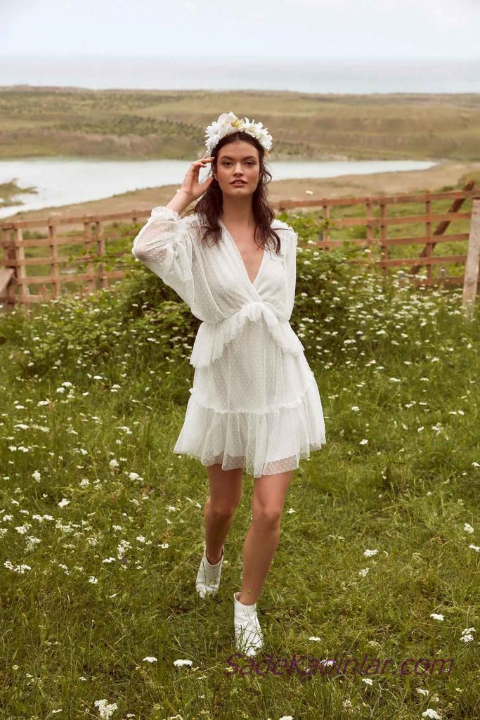 En Güzel 2019 Beyaz Elbise Modelleri Kısa V Yakalı Uzun Kollu Puantiyeli
