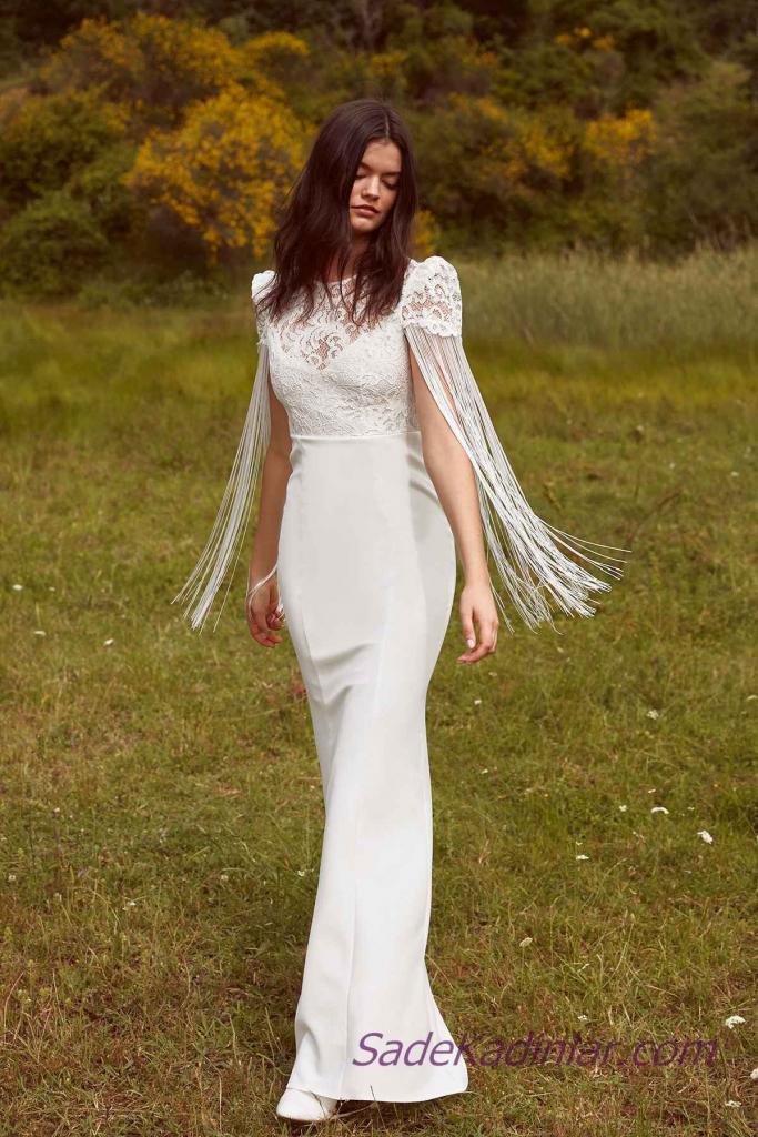 En Güzel 2019 Beyaz Elbise Modelleri Uzun Kapalı Yaka Kısa Kol Püskül Detaylı
