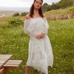 En Güzel 2020 Beyaz Elbise Modelleri Uzun Omzu Açık Düşük Uzun Kollu Dantelli