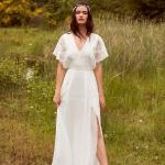 En Güzel 2020 Beyaz Elbise Modelleri Uzun V Yakalı Kısa Kollu Yandan Yırtmaçlı