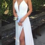 2019 Beyaz Şifon Elbise Modelleri Uzun Askılı Önden Yırtmaçlı