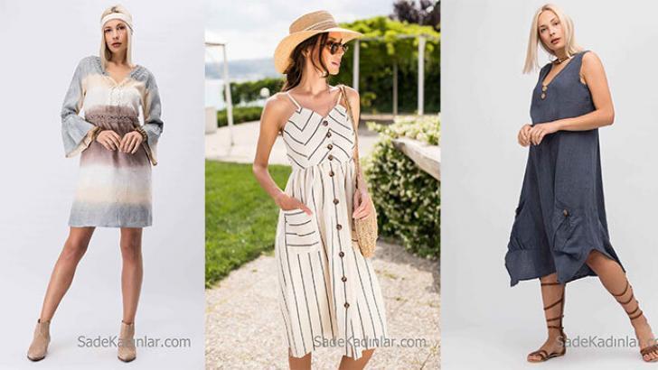 2018 Keten Elbise Modelleri Şık ve Modern Tarz Elbiseler