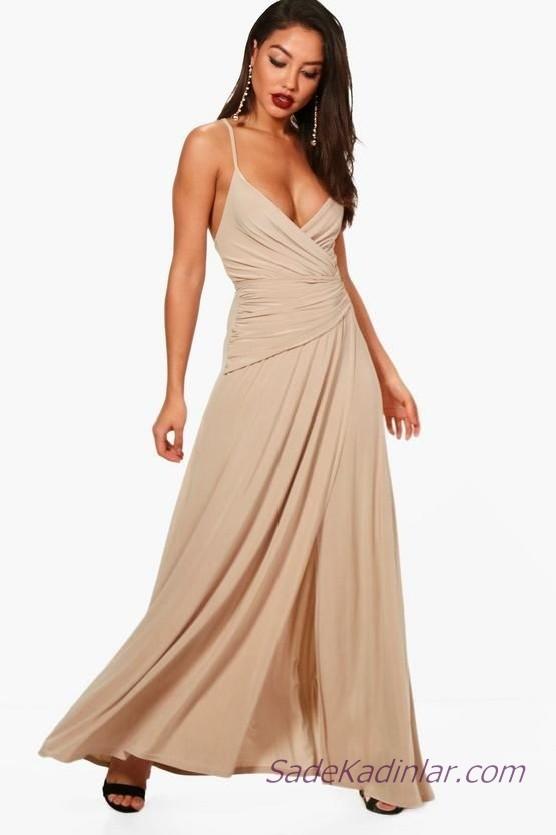Kloş Elbise Modelleri Vizon Uzun Askılı V Yakalı
