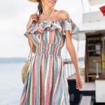 Kloş Elbise Modelleri Yeşil Kısa Straplez Düşük Kol Renk Bloklu Fırfırlı