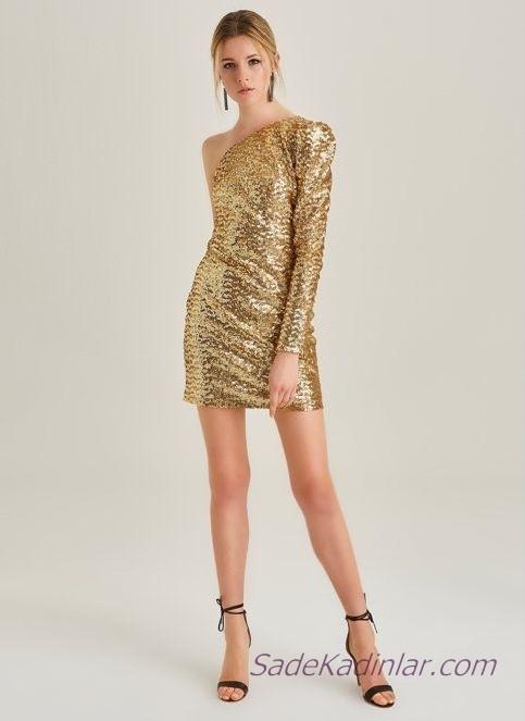 Koton Abiye Elbise Modelleri Gold Kısa Tek Omzu Açık Pul PAyetli