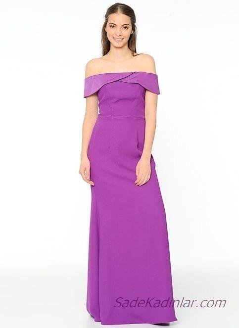 1fd493d33aa00 Koton Abiye Elbise Modelleri Mor Uzun Omzu Açık Katlamalı Yaka Düşük Kol. «