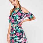 Koton Elbise Modelleri Lacivert Kısa Boyundan Askılı Kısa Kol Omuz Dekolteli Desenli