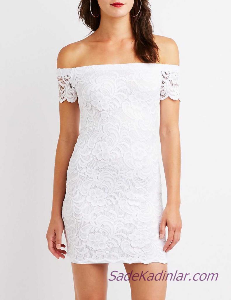 Mini Gece Elbise Modelleri - Beyaz Kısa Straplez Düşük Kol Güpür Dantel