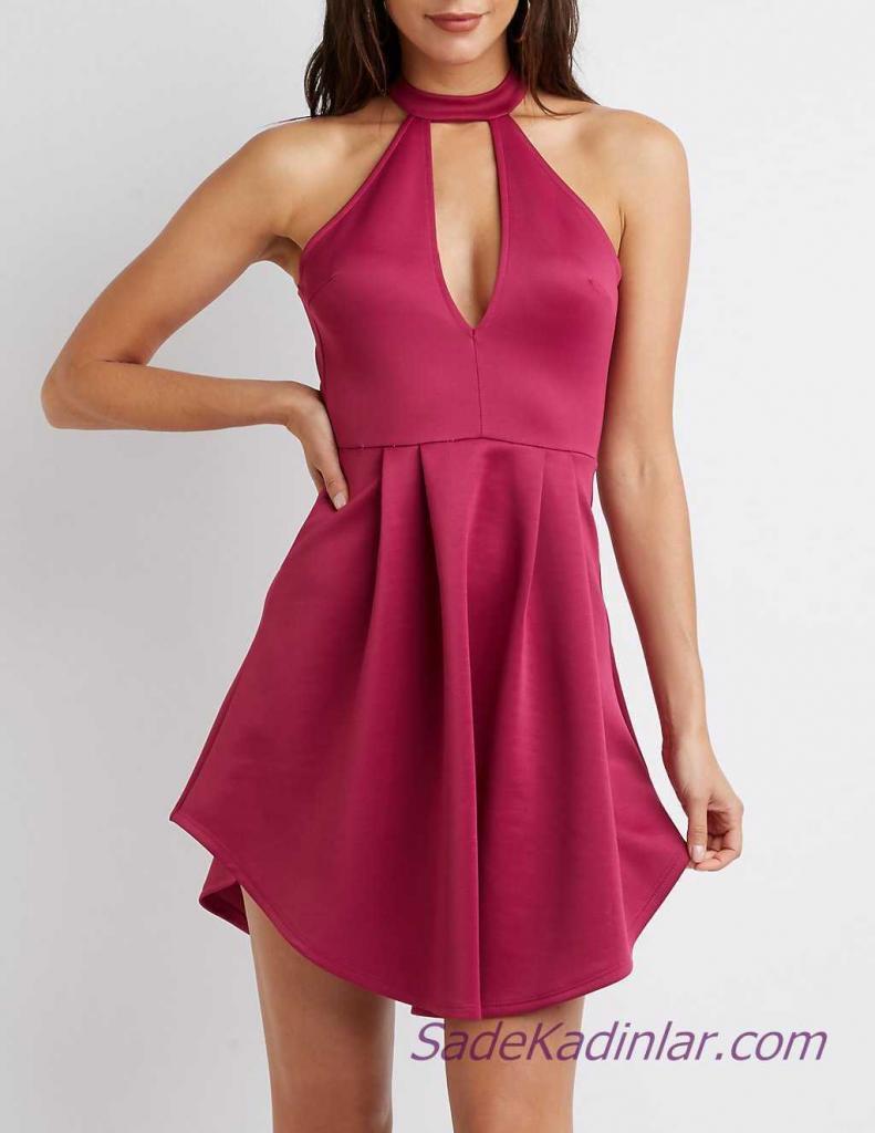 Mini Gece Elbise Modelleri - Fuşya Kısa Halter Yaka Sırt Dekolteli Pileli Etek