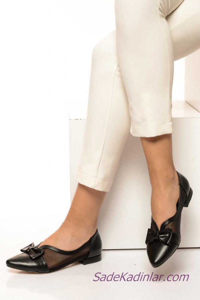 Siyah Babet Modelleri Tül Detaylı Önden Deri Fiyonklu