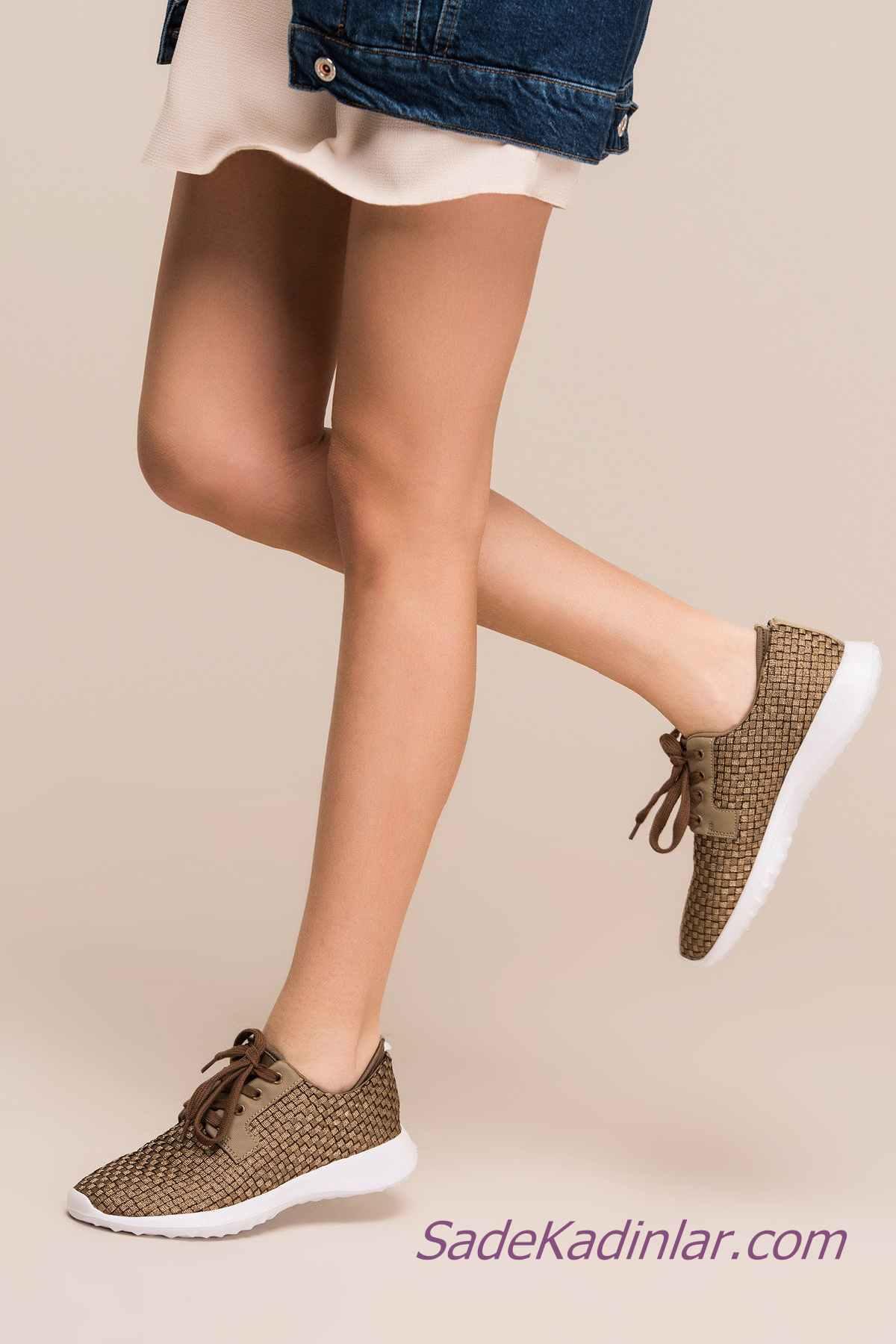 Sneakers Bayan Spor Ayakkabı Modelleri Bakır Hasır Örgülü Bağcıklı