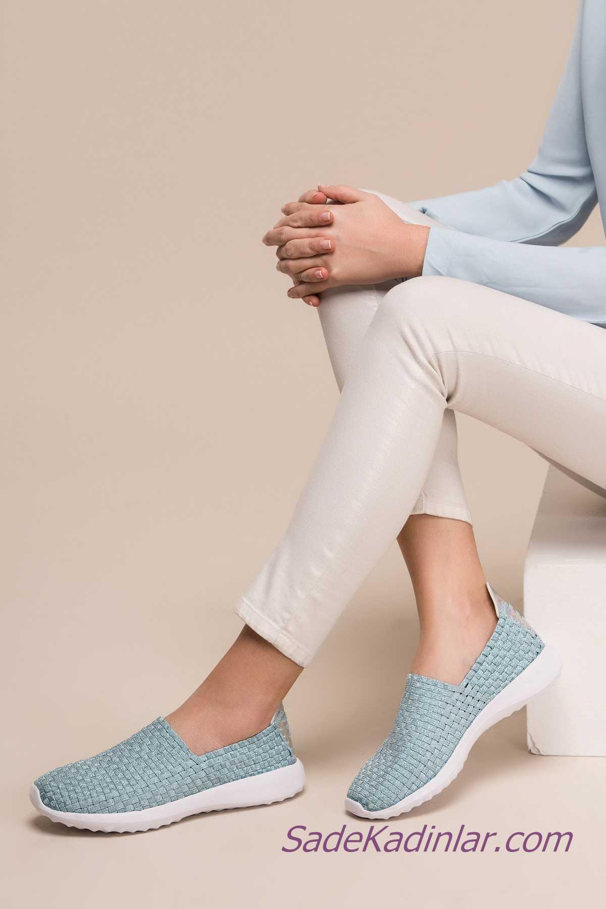 Sneakers Bayan Spor Ayakkabı Modelleri Bebek Mavisi Hasır Örgü Desenli