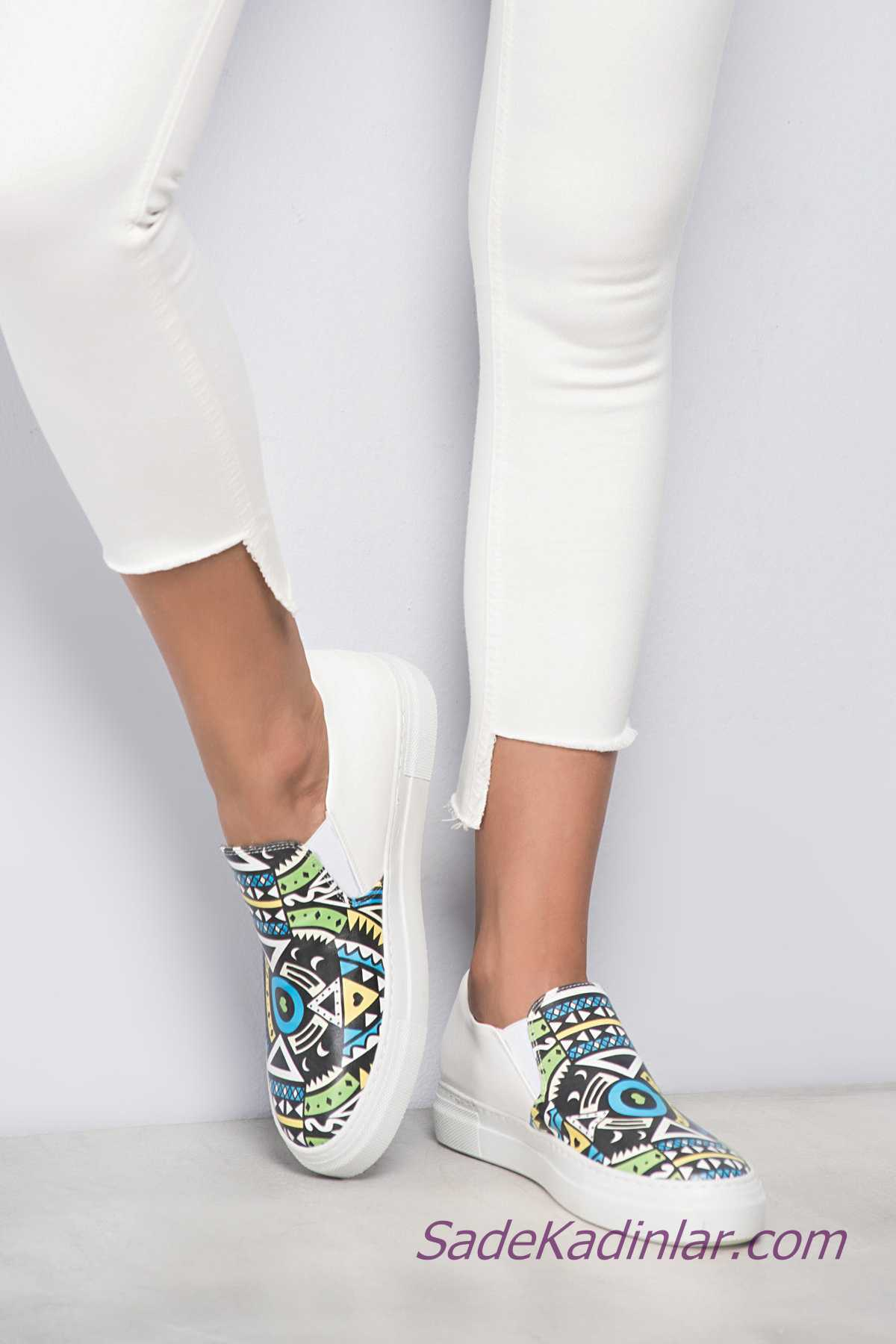 Sneakers Bayan Spor Ayakkabı Modelleri Beyaz Lastikli Önden Geometrik Şekilli Desenli