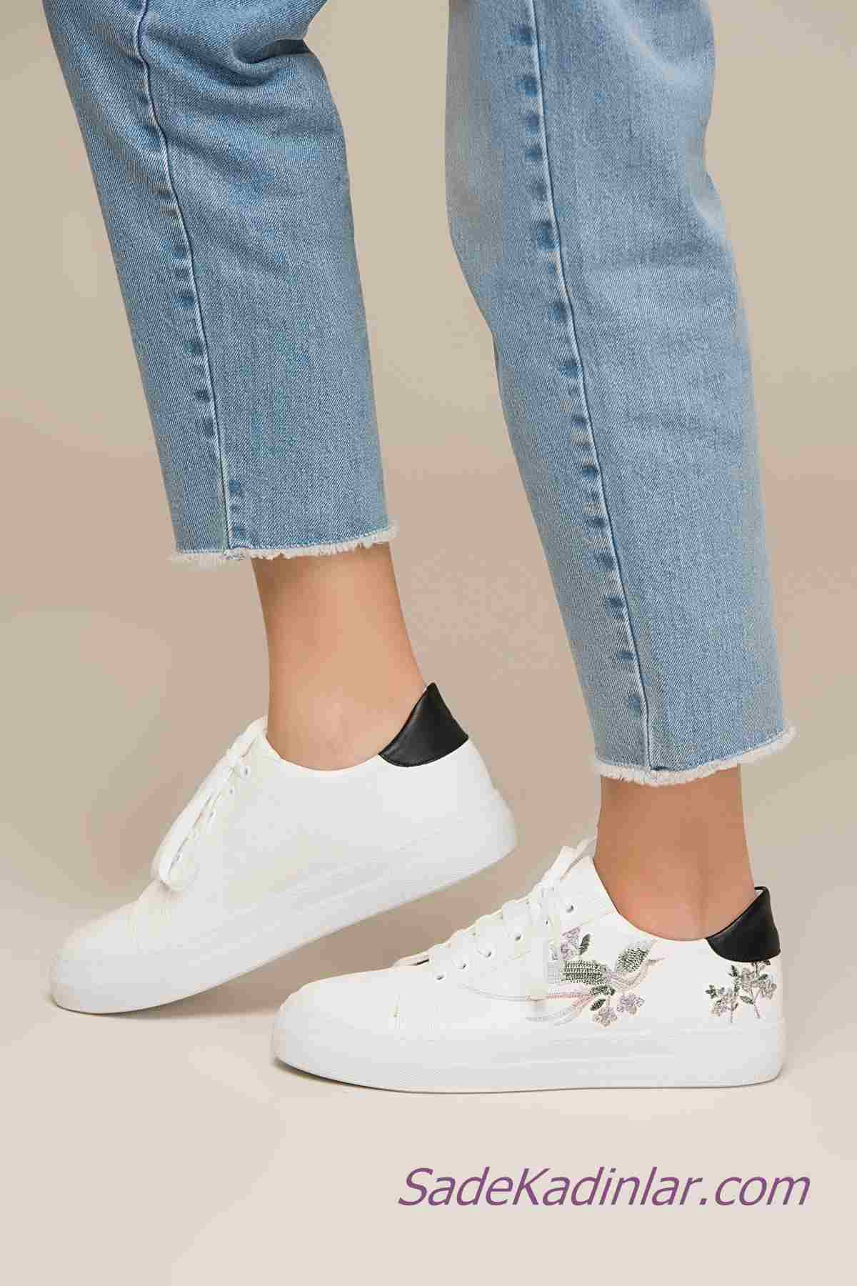 Sneakers Bayan Spor Ayakkabı Modelleri Beyaz Nakış İşlemeli Bağcıklı