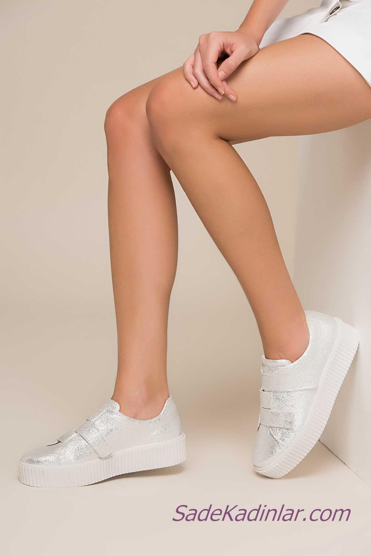 Sneakers Bayan Spor Ayakkabı Modelleri Beyaz Yandan Bantlı Yapışkanlı