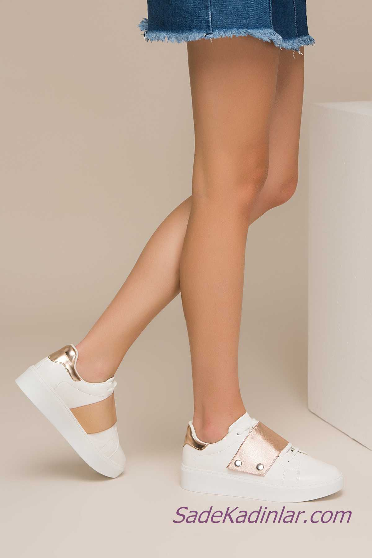 Sneakers Bayan Spor Ayakkabı Modelleri Beyaz Yandan Gold Bantlı Bağcıklı