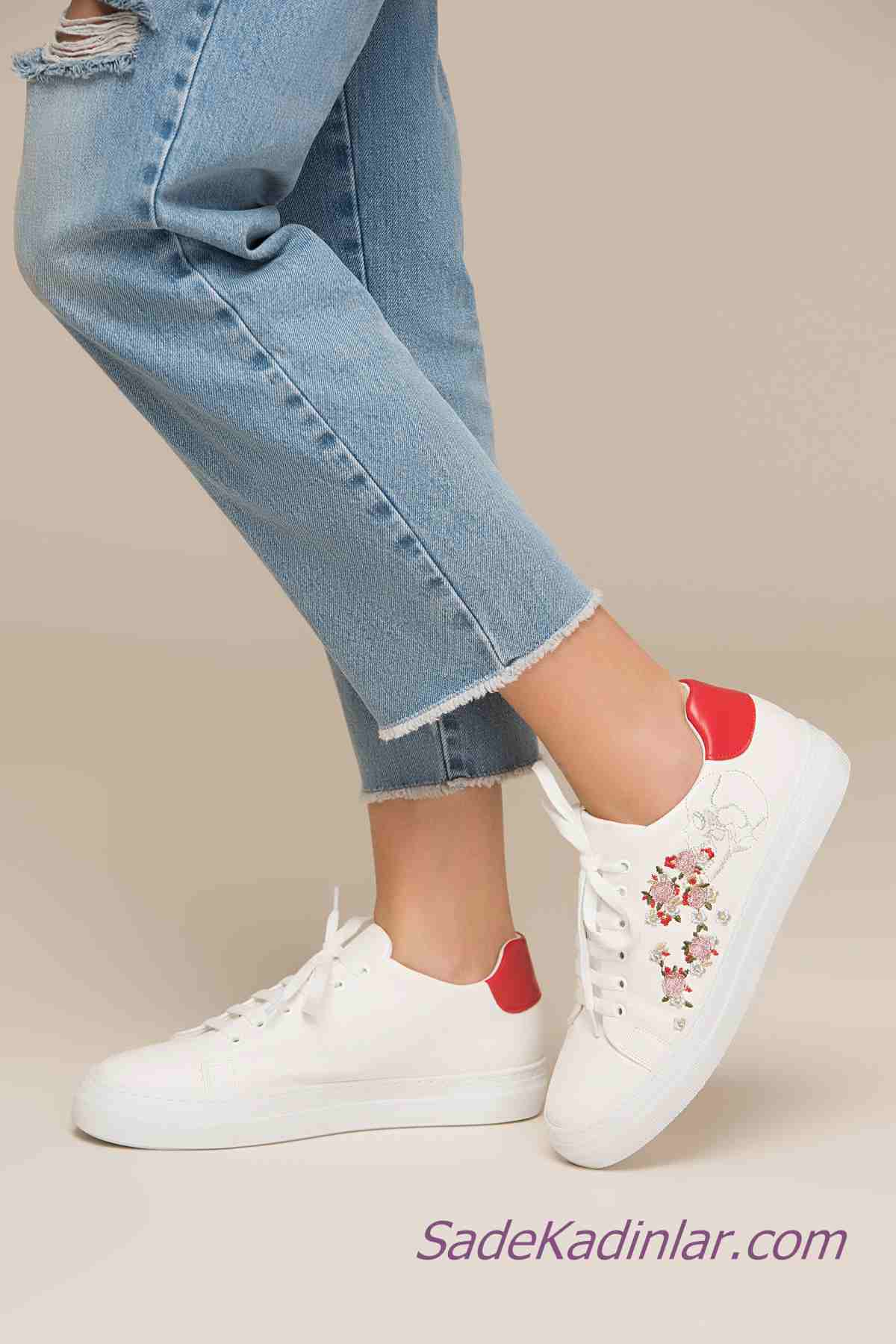 Sneakers Bayan Spor Ayakkabı Modelleri Beyaz Yandan Nakış İşlemeli Bağcıklı
