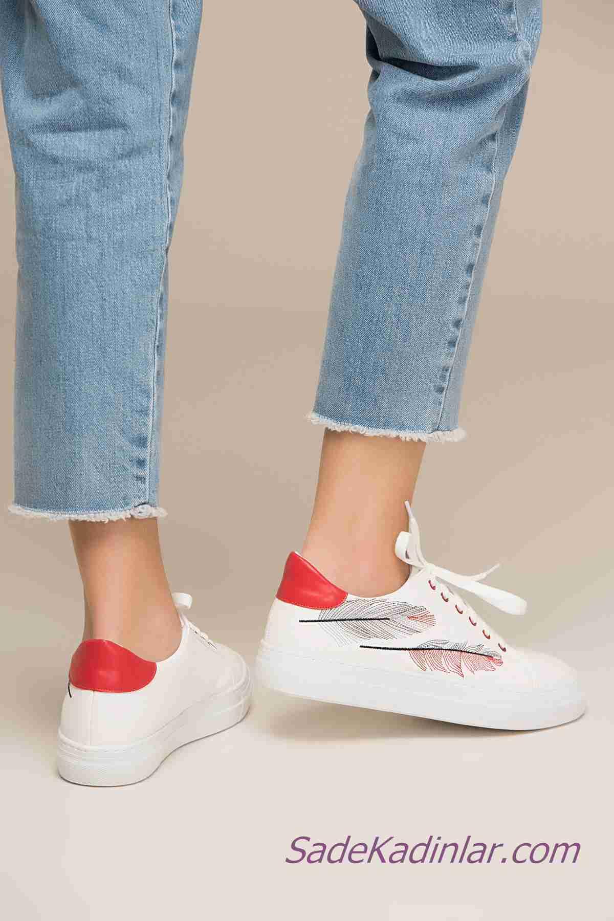 Sneakers Bayan Spor Ayakkabı Modelleri Beyaz Yaprak Figürü İşlemeli Bağcıklı