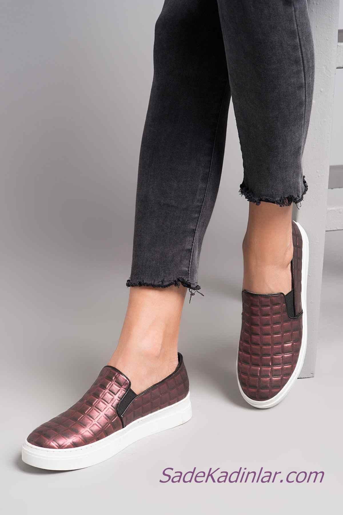 Sneakers Bayan Spor Ayakkabı Modelleri Bordo Lastikli Kare Desenli