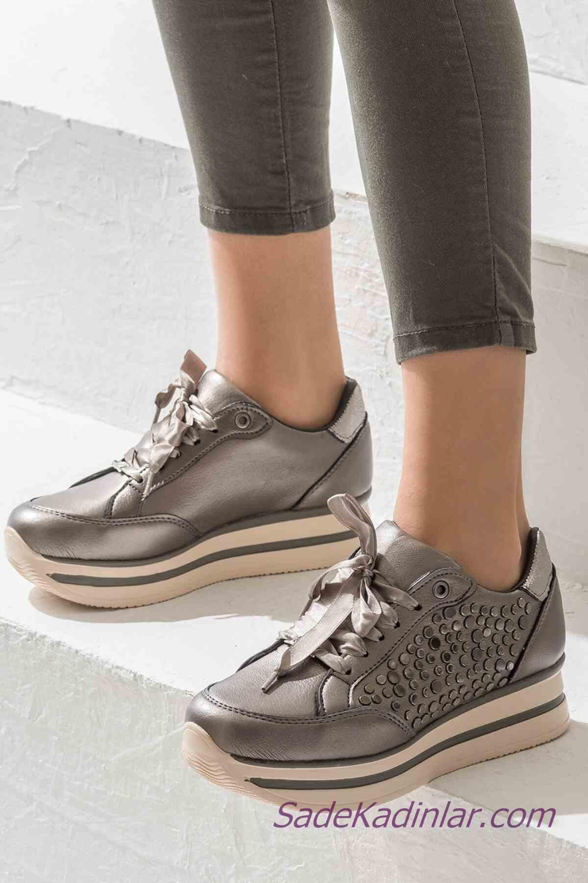 Sneakers Bayan Spor Ayakkabı Modelleri Gümüş Bağcıklı Metal Aksesuarlı