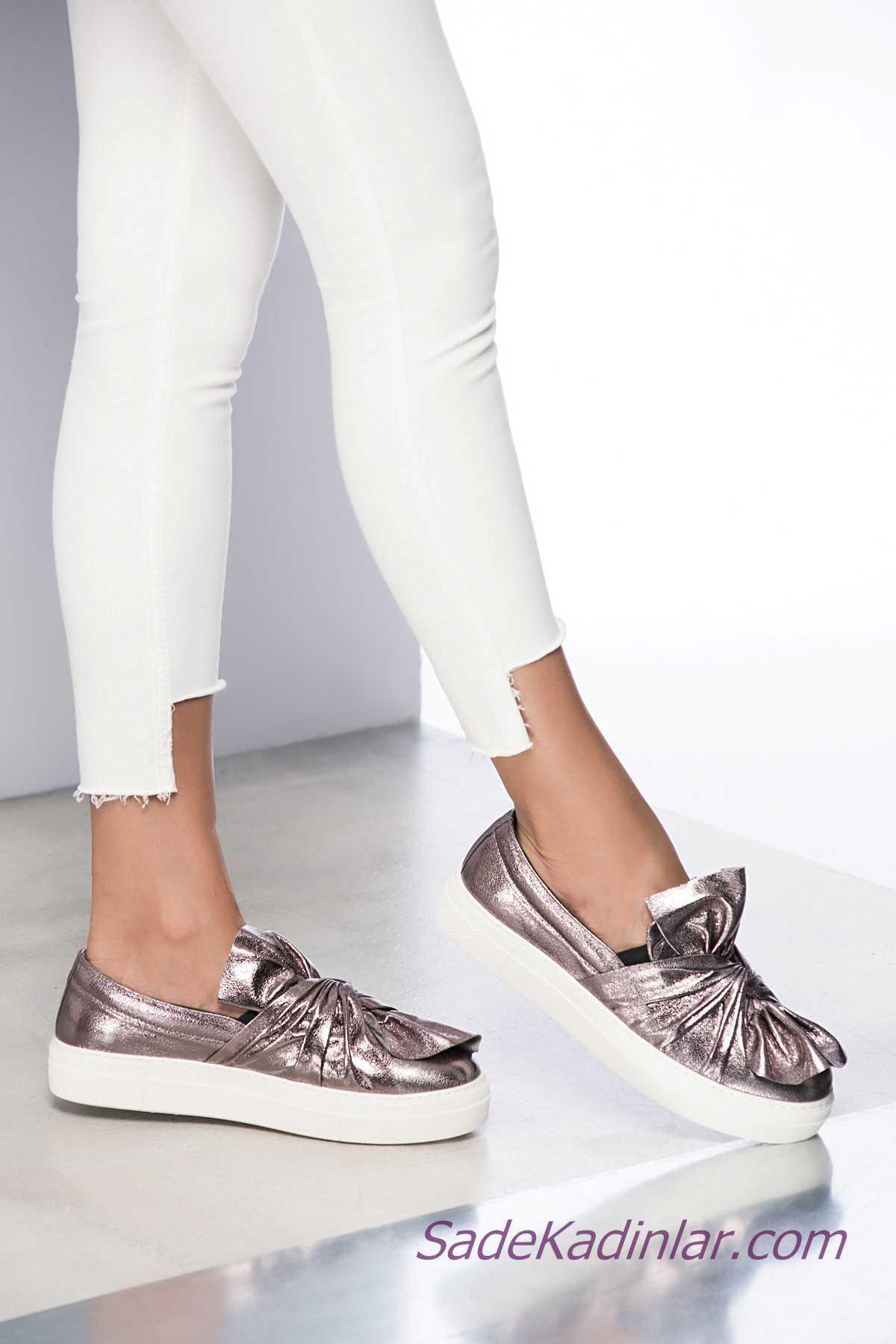 Sneakers Bayan Spor Ayakkabı Modelleri Gümüş Fiyonklu Lastikli