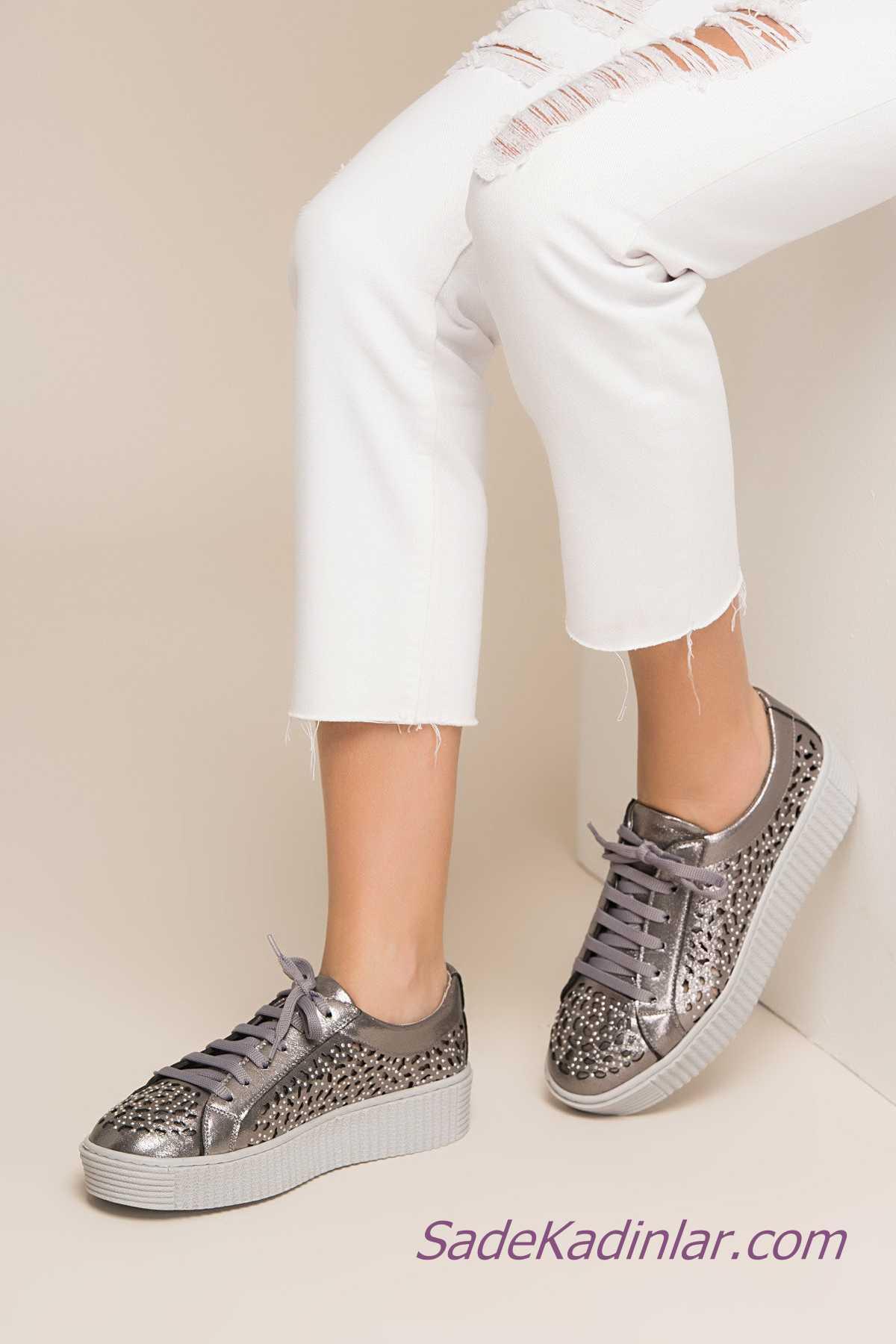 Sneakers Bayan Spor Ayakkabı Modelleri Gümüş Taşlı Desenli Bağcıklı