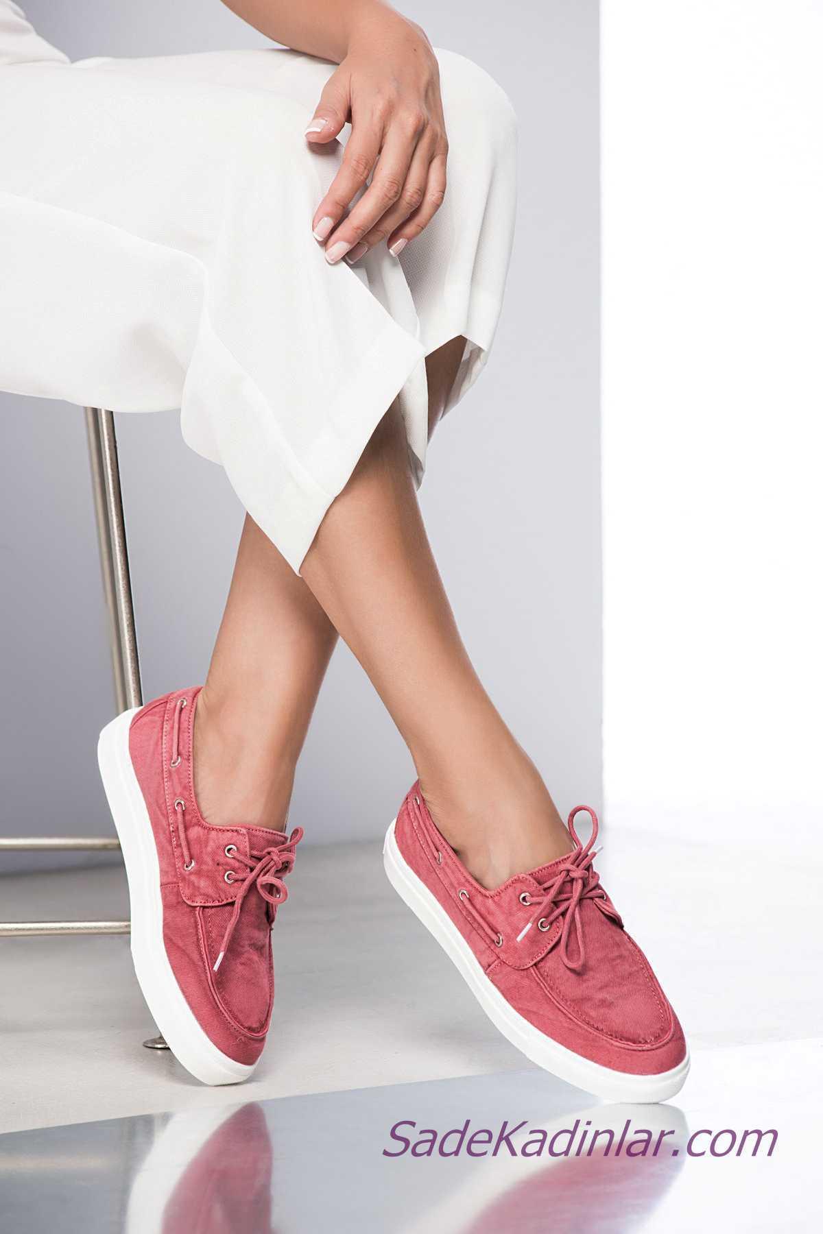 Sneakers Bayan Spor Ayakkabı Modelleri Pembe Deri Bağcıklı Yandan İpli