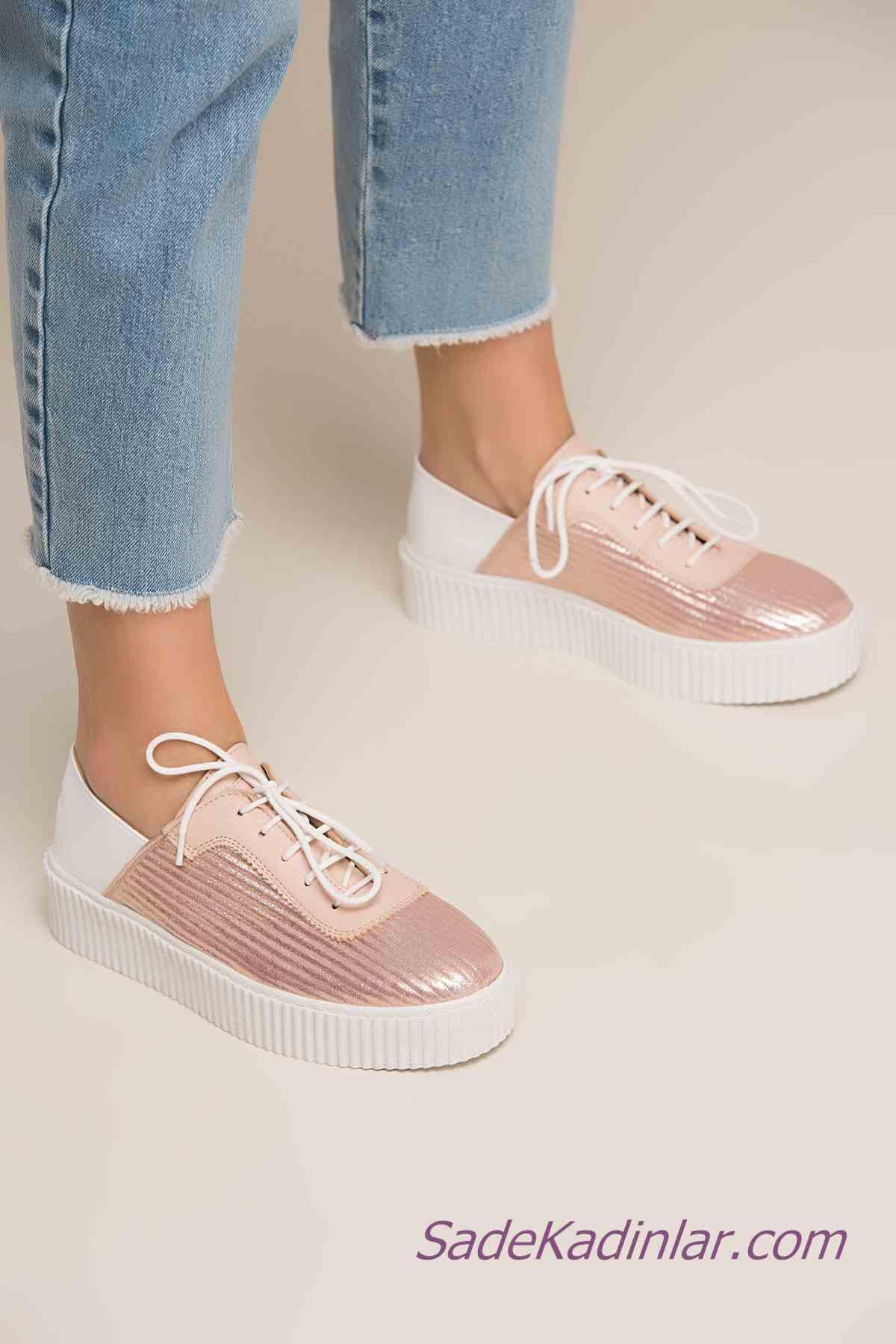 Sneakers Bayan Spor Ayakkabı Modelleri Pudra Parlak Muaşlı Bağcıklı