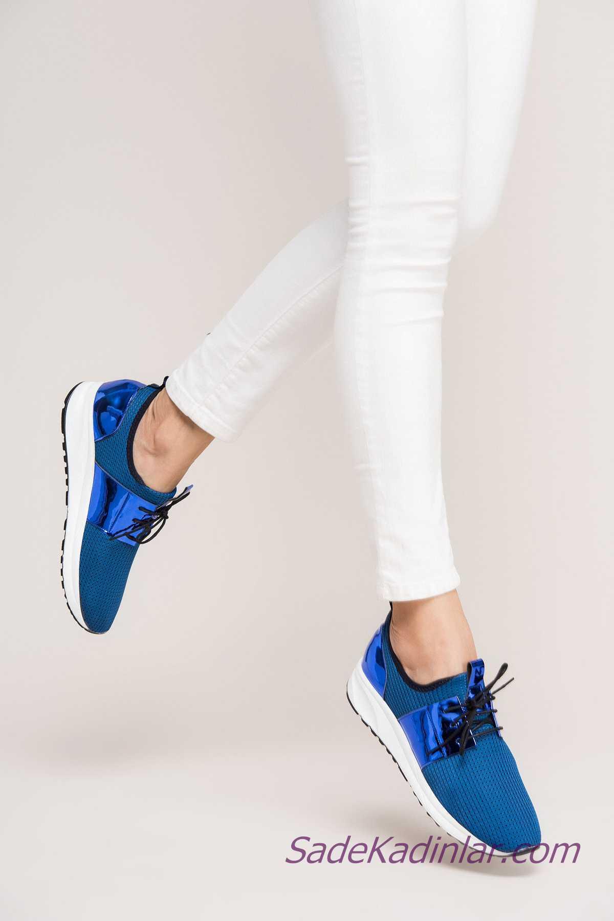 Sneakers Bayan Spor Ayakkabı Modelleri Saks Mavi Parlak Bantlı Bağcıklı