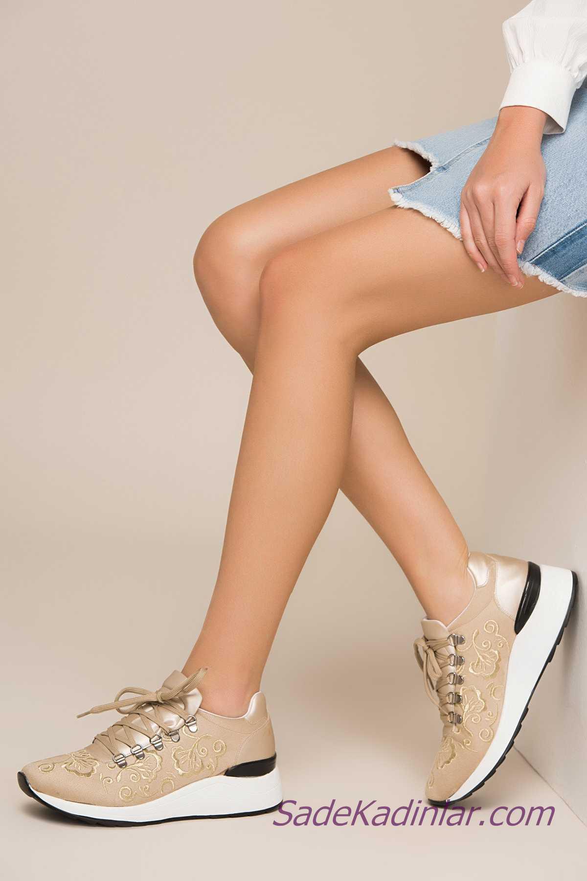 Sneakers Bayan Spor Ayakkabı Modelleri Vizon Nakış İşlemeli Bağcıklı