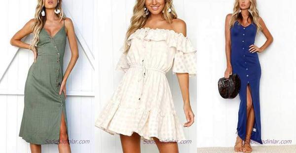 Şık Tasarımlardan Oluşan 2019 Önden Düğmeli Elbise Modelleri