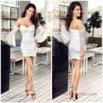2019 Abiye Elbise Modelleri Beyaz Kısa Askılı Kalp Yaka Kol Detaylı