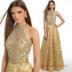 2019 Abiye Elbise Modelleri Gold Uzun Halter Yaka Kloş Etekli Boncuk İşlemeli