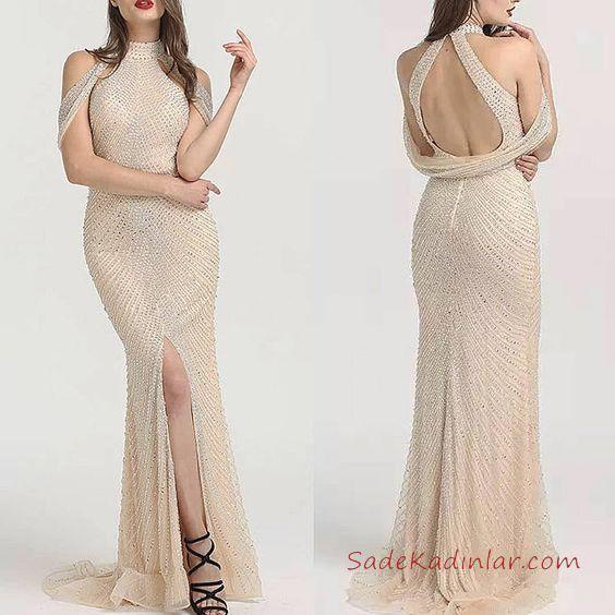 2019 Abiye Elbise Modelleri Krem Uzun Kapalı Yaka Yırtmaçlı Sırt Dekolteli Boncuk İşlemeli