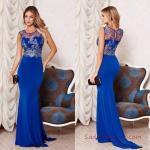 2019 Abiye Elbise Modelleri Saks Mavi Uzun Kolsuz Transparan Yaka İşlemeli Kuyruklu